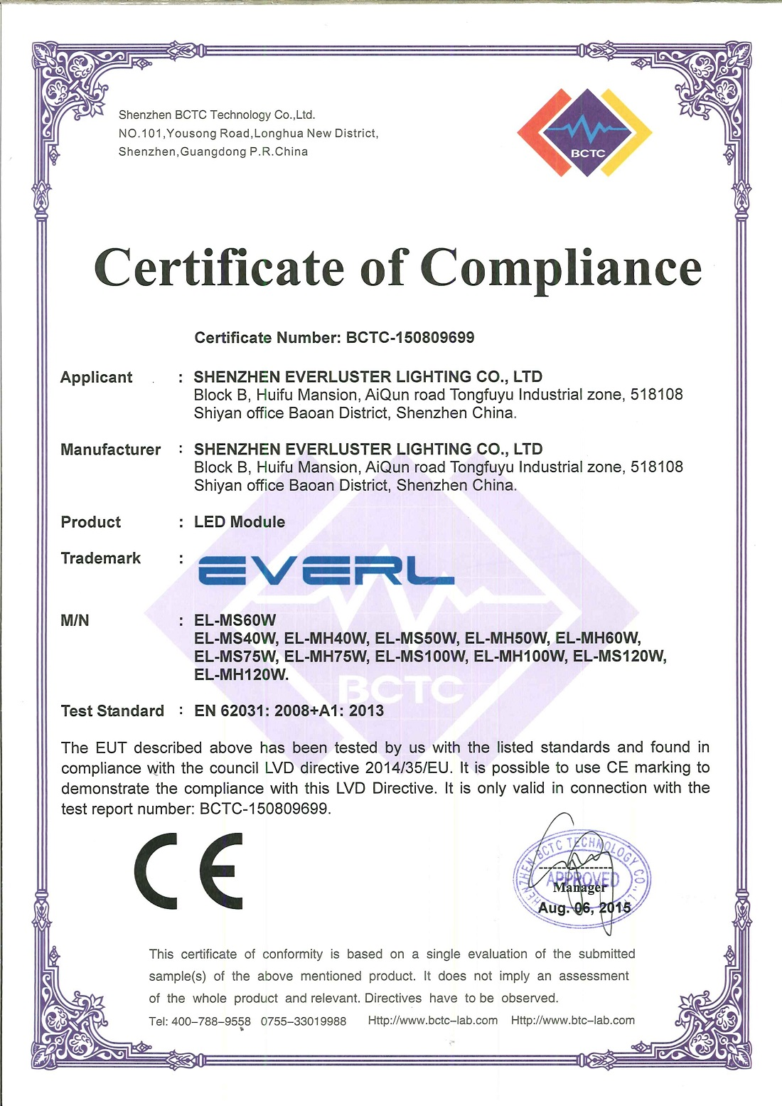 With ce and fcc certificated led street module everluster ce and fcc certification philips led street light module 1betcityfo Choice Image